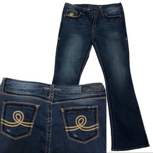 Seven7 Womens Mid Rise Dark Wash Bootcut Jeans 16